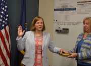 Photo of Anne C. Hutchins, M.D. taking the oath of office as VISN 6 Chief Medical Officer, a Senior Executive Service equivalent position