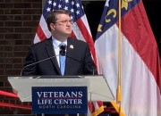 Photo of VA Secretary Robert Wilkie addresses a gathering of community partners and government officials during the grand opening of the Veterans Life Center, a comprehensive, residential rehabilitation center for transitioning Veterans in Butner, N.C. August 1. (photo by Stephen R. Wilkins)